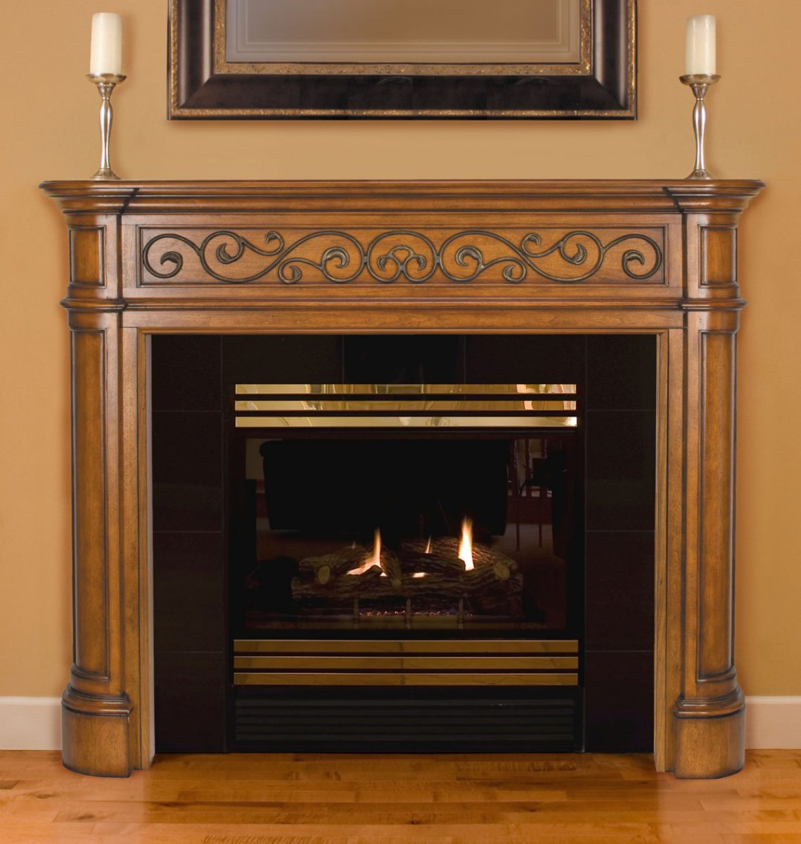 fireplace doors and mantel
